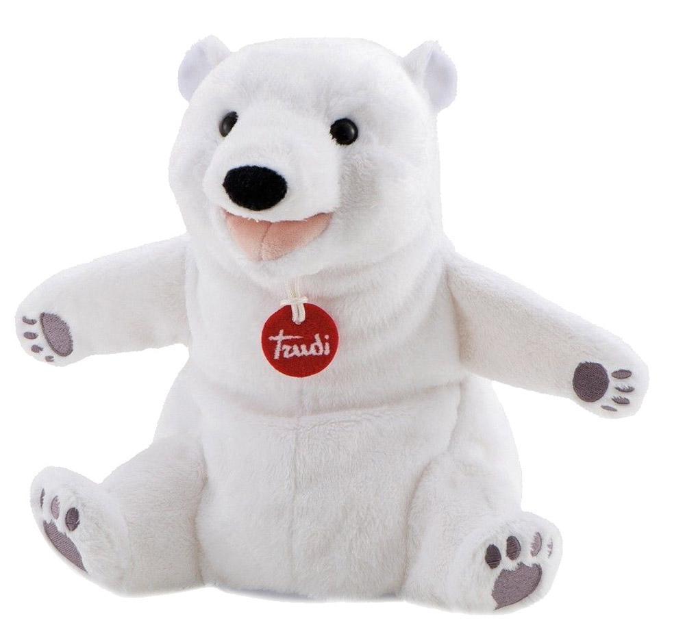 Trudi Мягкая игрушка на руку Белый мишка 25 см trudi котёнок брэд серо белый 24 см
