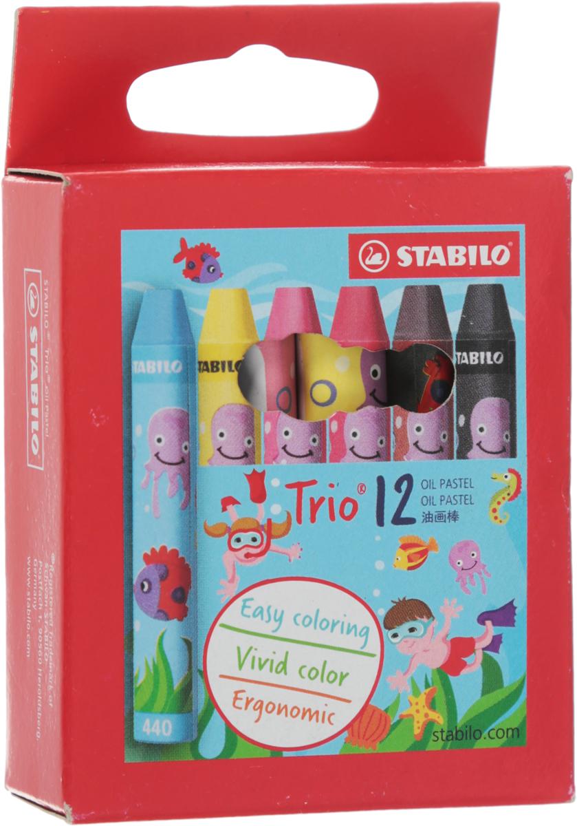 Масляная пастель Stabilo Trio, 12 цветов2612Масляная пастель STABILO trio 2612 Эргономичная трехгранная форма удобна для детской руки. Яркие, интенсивные цвета легко наносятся и смешиваются. Мелки устойчивы к воздействию воды и не размазываются. Характеристики:Ширина одного мелка:1 см. Длина мелка:6,8 см. Размер упаковки:9 см х 6 см х 2 см. Изготовитель:Малайзия.Уважаемые клиенты! Обращаем ваше внимание на то, что упаковка может иметь несколько видов дизайна. Поставка осуществляется в зависимости от наличия на складе.