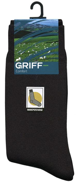 Носки мужские Griff Comfort, цвет: черный. D10. Размер 36/38D10Зимние гладкие эластичные носки от Griff с микроплюшем. Носки с кеттельным швом, усилением пятки и мыска.
