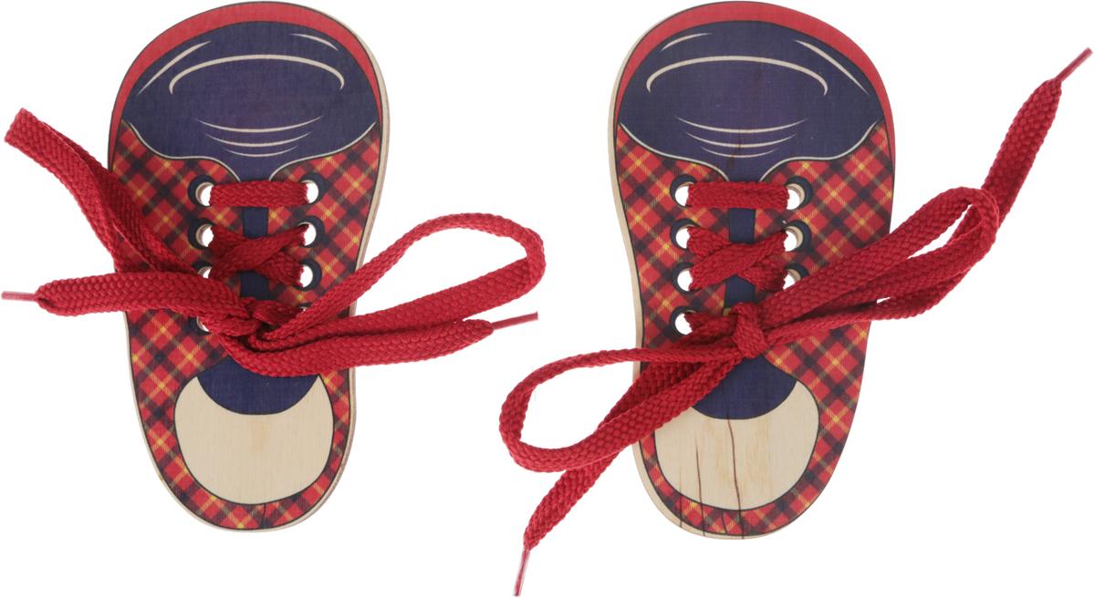 Развивающие деревянные игрушки Шнуровка Ботинки шотландка