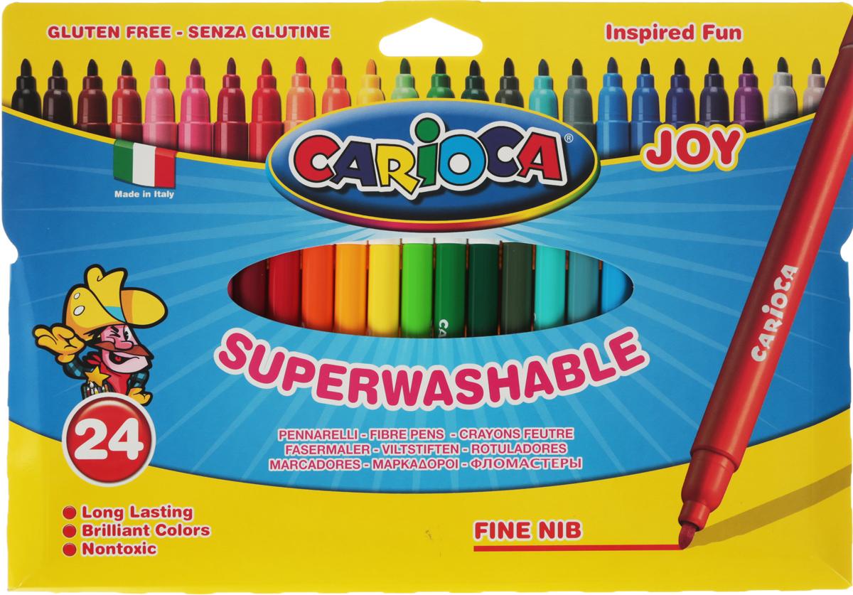 Carioca Набор фломастеров Joy 24 цвета40532/24Фломастеры Carioca Joy отлично подойдут и для школьных занятий, и просто для рисования. Комплект включает в себя фломастеры 24 ярких насыщенных цветов в разноцветных пластиковых корпусах (цвет корпуса соответствует цвету чернил). Каждый фломастер оснащен плотным вентилируемым колпачком, надежно защищающим чернила от испарения. Наконечники фломастеров устойчивы к повышенному давлению и не разнашиваются со временем. Чернила фломастеров на водной основе не токсичны и абсолютно безопасны.Фломастеры Carioca Joy - идеальный инструмент для самовыражения и развития маленького художника! Характеристики:Длина фломастера: 14,5 см. Диаметр фломастера:0,9 см.Уважаемые клиенты! Обращаем ваше внимание на то, что упаковка может иметь несколько видов дизайна. Поставка осуществляется в зависимости от наличия на складе.