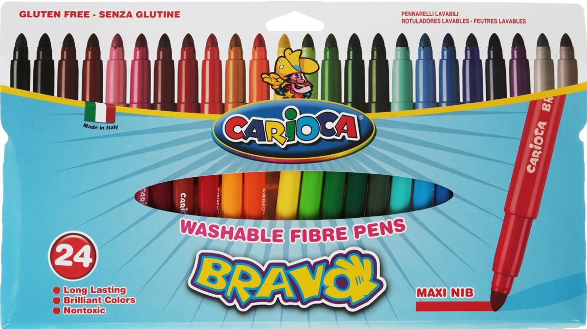Carioca Набор фломастеров Bravo 24 цветов42763Набор Carioca Bravo состоит из 24 смываемых разноцветных фломастеров, которые отличноподойдут и для школьных занятий, и просто для рисования. Чернила на водной основе легко смываются с кожи и отстирываются с большинства тканей. Фломастеры рисуют яркими насыщенными цветами. Корпус фломастеров изготовлен из прочного материала, а колпачок имеет специальные прорези, что обеспечивает вентилирование и еще больше увеличивает срок службы чернил и предотвращает их преждевременное высыхание.Уважаемые клиенты! Обращаем ваше внимание на то, что упаковка может иметь несколько видов дизайна. Поставка осуществляется в зависимости от наличия на складе.