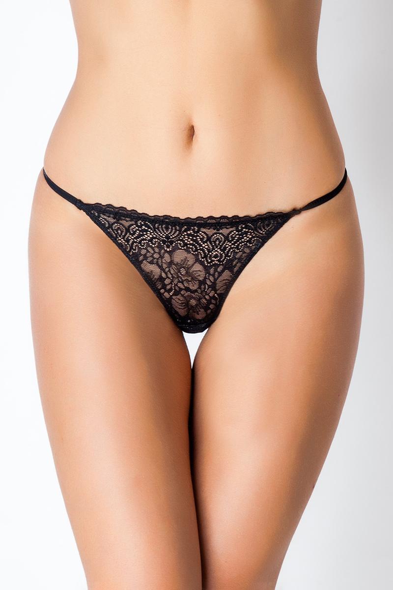 Трусы-стринги женские Vis-A-Vis, цвет: черный. DL1189. Размер XS (42)DL1189Элегантные женские G-стринги выполнены из нежного кружевного полотна. Модель с заниженной талией.