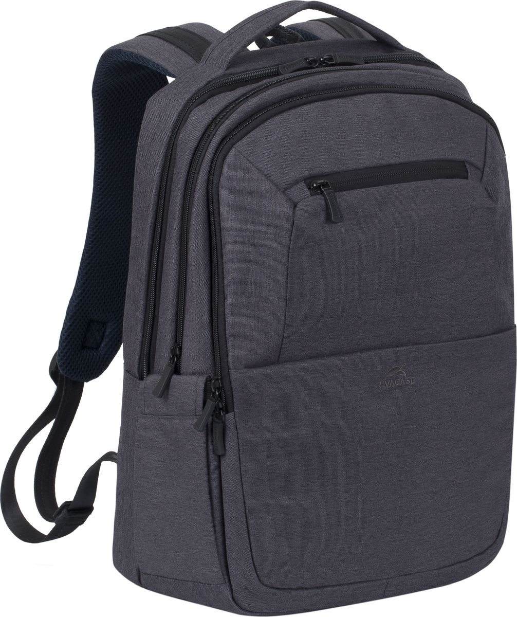 RivaCase 7765, Black рюкзак для ноутбука 164260403571910Рюкзак в спортивном стиле из высококачественной, водоотталкивающей ткани.Легкий, но имеет утолщенные стенки для защиты ноутбука от случайных ударов и царапин, а также от пыли и влаги.Основное отделение для ноутбука с вертикальной загрузкой имеет дополнительный внутренний карман для планшета до 10.1.Внешнее переднее отделение на молнии для хранения аксессуаров, также оборудовано панелью-органайзером для хранения визитных карт, флэш-накопителей, смартфона. Также на передней панели карман на молнии для различных мелочей.Дополнительное просторное отделение для хранения книг, документов, вещей необходимых в путешествии.Два боковых кармана для емкостей с водой.Двойная застежка молния для удобного доступа к устройству.Удобная мягкая ручка для переноски и наплечные ремни со смягчающими подкладками помогут чувствовать себя комфортно в самом долгом путешествии.На задней стенке имеется ремень крепления к багажной сумке и скрытый карман на молнии для паспорта, бумажника.Специальная система крепления ремешков на липучке закрепляет их и создает дополнительное удобство.