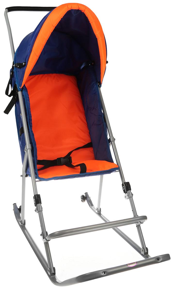 Фея Санки-коляска Метелица Люкс 1 с тентом цвет синий оранжевый