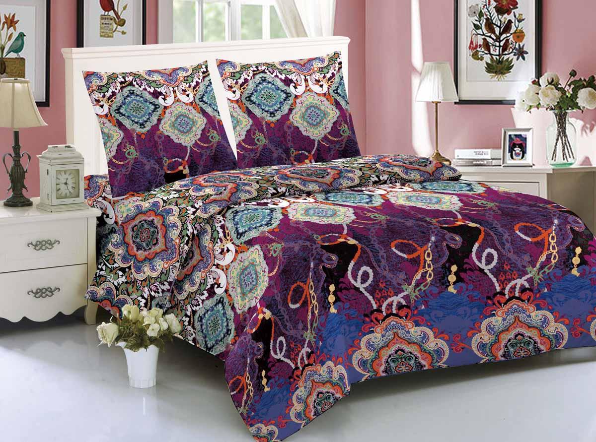 Комплект белья Amore Mio Calcutta, 1,5-спальный, наволочки 70x70, цвет: фиолетовый, синий, зеленый89214Amore Mio - Комфорт и Уют - Каждый день! Amore Mio предлагает оценить соотношение цены и качества коллекции. Разнообразие ярких и современных дизайнов прослужат не один год и всегда будут радовать Вас и Ваших близких сочностью красок и красивым рисунком. Мако-сатин - свежее решение, для уюта на даче или дома, созданное с любовью для вашего комфорта и отличного настроения! Нано-инновации позволили открыть новую ткань, полученную, в результате высокотехнологического процесса, сочетает в себе широкий спектр отличных потребительских характеристик и невысокой стоимости. Легкая, плотная, мягкая ткань, приятна и практична с эффектом персиковой кожуры. Отлично стирается, гладится, быстро сохнет. Дисперсное крашение, великолепно передает качество рисунков.