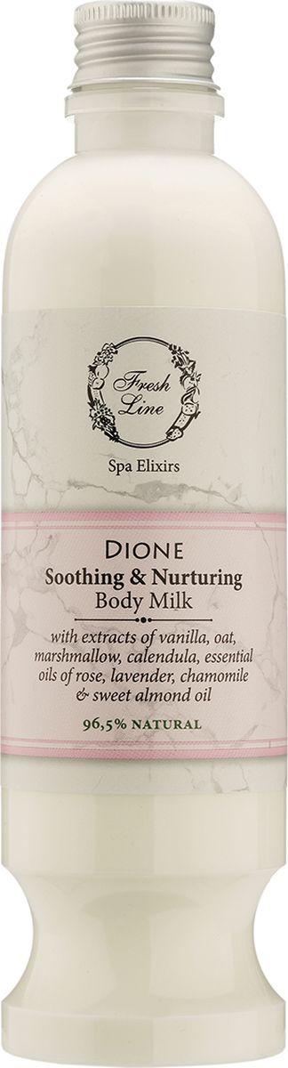 Fresh Line Молочко для тела Диона, 250 мл910570Мягкое молочко для тела с легкой текстурой и деликатным ароматом розы, дополненным теплыми нотами ванили. Подходит для всех типов кожи, особенно рекомендуется для чувствительной. Содержит увлажняющие ингредиенты, богатые жирными кислотами, такие как греческое органическое оливковое масло, масло сладкого миндаля и авокадо. Эфирное масло розы восстанавливает и освежает, а ее аромат поднимает настроение. Эфирное масло ромашки и экстракт календулы успокаивают раздражения, а эфирное масло лаванды положительно влияет на телесный и душевный комфорт. Парфюмерная композиция не содержит аллергенов. Содержит 96,5% натуральных ингредиентов.