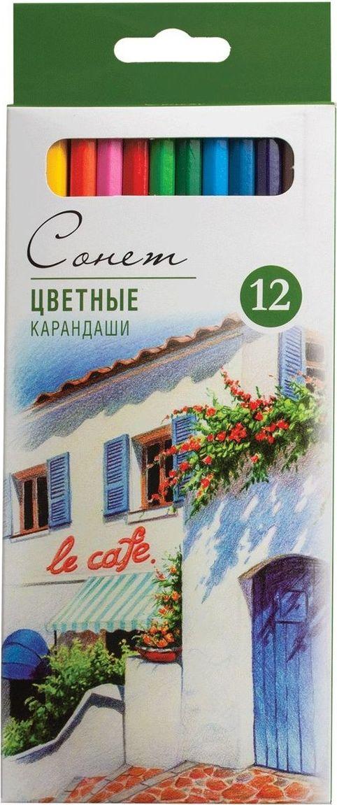 Невская палитра Набор карандашей профессиональных Сонет 12 цветов -  Карандаши