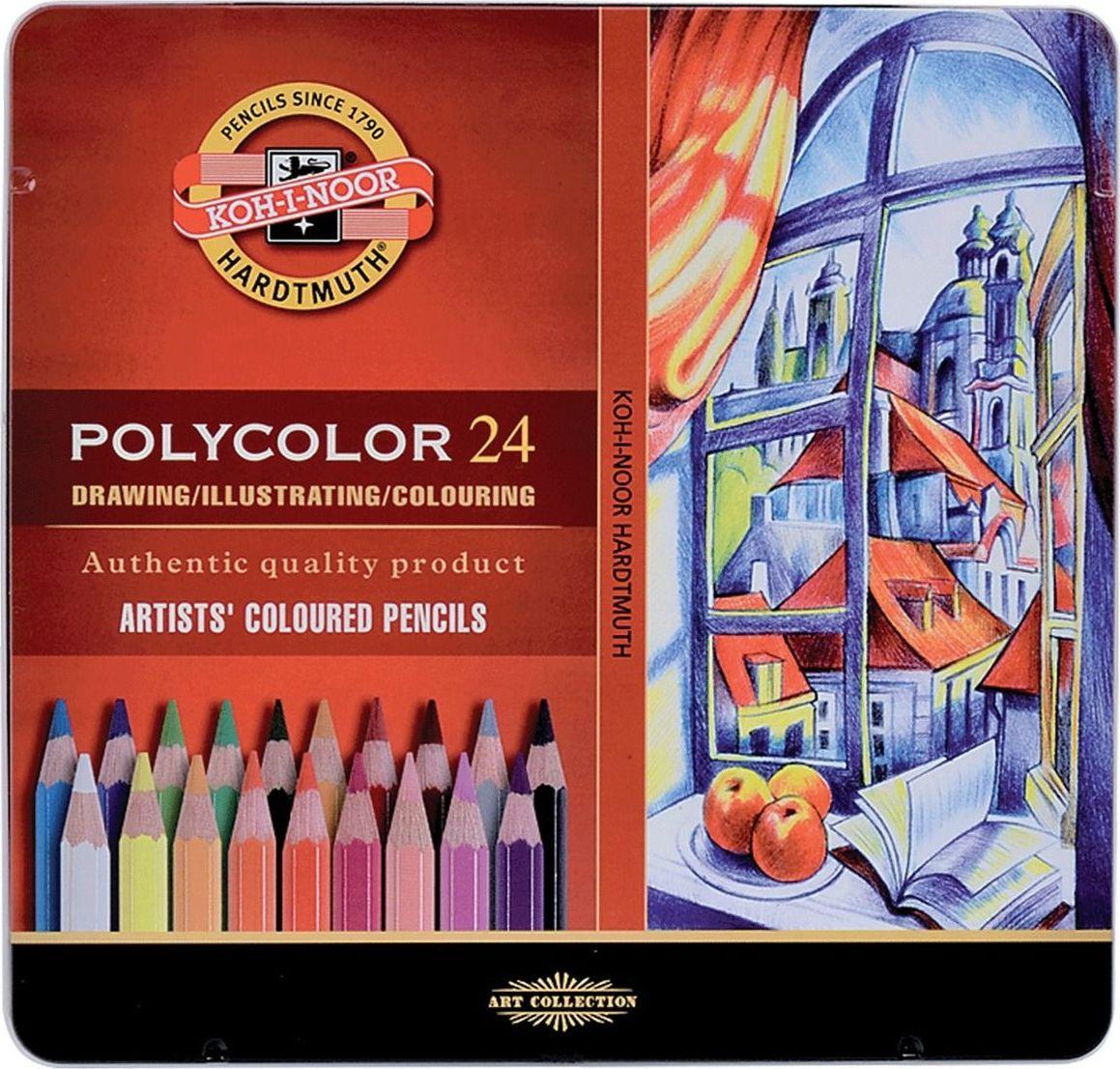 Koh-I-Noor Набор карандашей Polycolor 24 цвета181022Профессиональные цветные карандаши высокого качества. Предназначены для использования в графическом искусстве, где важна чёткая передача цвета и линий. Абсолютная чистота, насыщенность и равномерность цвета по всей поверхности рисунка.