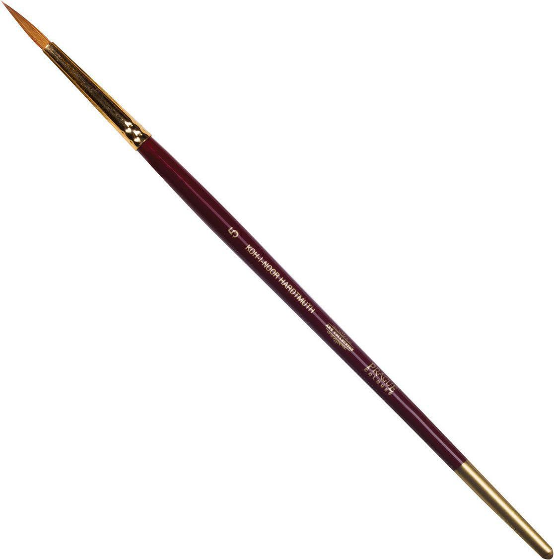 Koh-I-Noor Кисть колонок круглая №5 короткая ручка200389Высококачественная кисть из натурального волоса колонка. Волос прекрасно сохраняет форму, не ломается, впитывает влагу и хорошо моется под проточной струей воды. Подходит для акварели и индийских красок.
