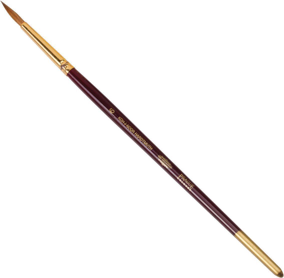 Koh-I-Noor Кисть колонок круглая №6 короткая ручка200391Высококачественная кисть из натурального волоса колонка. Волос прекрасно сохраняет форму, не ломается, впитывает влагу и хорошо моется под проточной струей воды. Подходит для акварели и индийских красок.