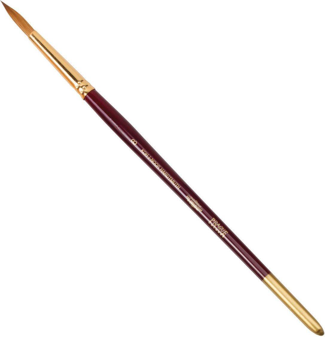 Koh-I-Noor Кисть колонок круглая №8 короткая ручка200396Высококачественная кисть  Koh-i-Noor выполнена из натурального волоса колонка. Волос прекрасно сохраняет форму, не ломается, впитывает влагу и хорошо моется под проточной струей воды. Подходит для акварели и индийских красок.