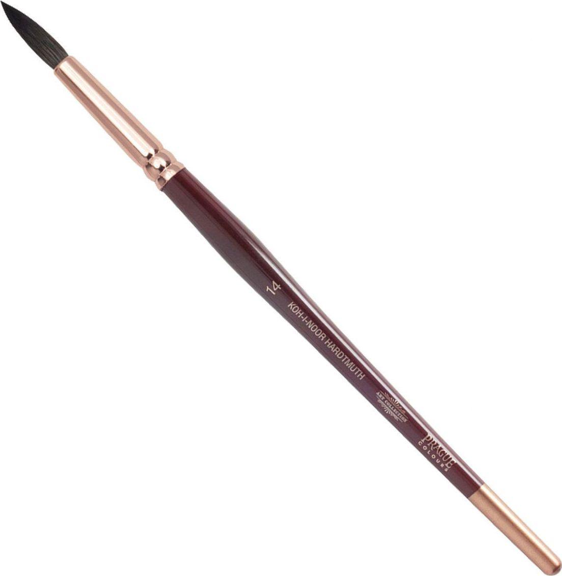 Koh-I-Noor Кисть белка круглая №14 короткая ручка200407Высококачественная кисть  Koh-i-Noor выполнена из натурального волоса белки. Волос прекрасно сохраняет форму, не ломается, впитывает влагу и хорошо моется под проточной струей воды. Подходит для акварели и индийских красок.
