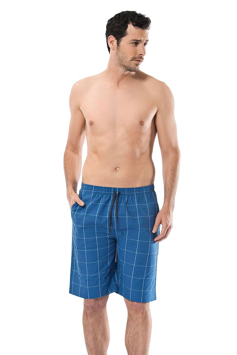 Брюки для дома мужские Cacharel, цвет: синий. 2144. Размер XL (50/52)2144Брюки для дома мужские Cacharel выполнены из эластичного хлопка. Модель на резинке дополнена регулируемым шнурком.