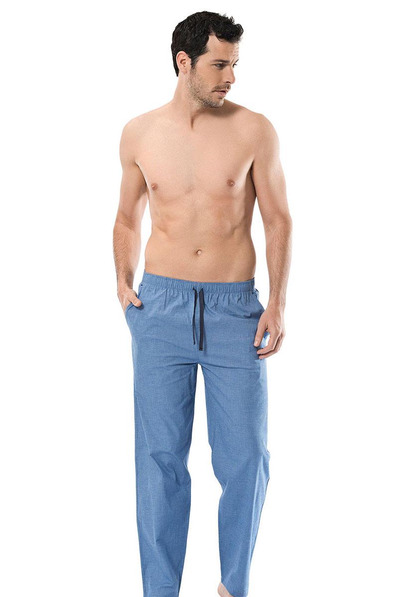 Брюки для дома мужские Cacharel, цвет: синий. 2145-1. Размер XL (50/52)2145-1Брюки для дома мужские Cacharel выполнены из эластичного хлопка. Модель на резинке дополнена регулируемым шнурком.