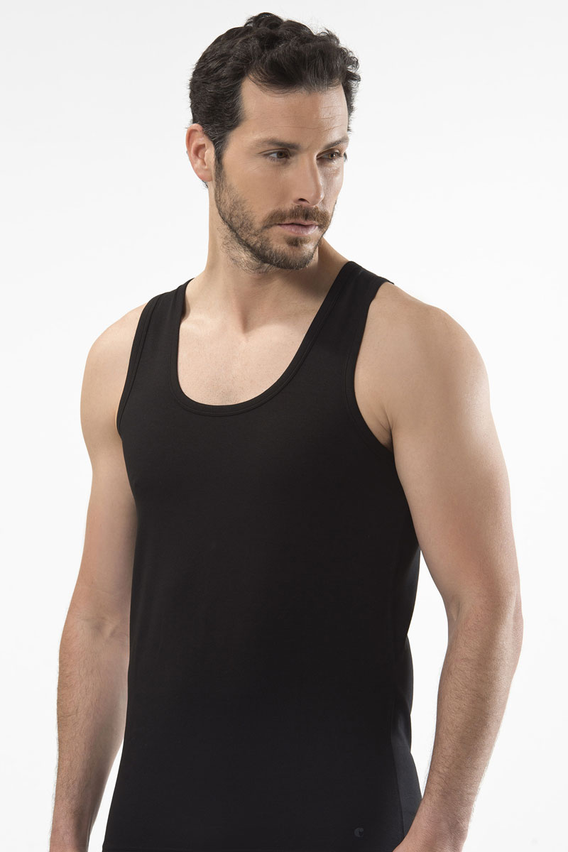 Майка мужская Cacharel, цвет: черный. 1401. Размер XL (50/52)1401Майка мужская на широких бретелях.