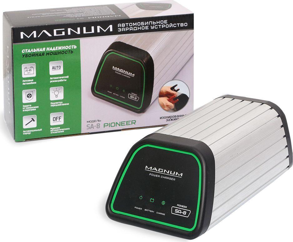 Зарядное устройство Azard Magnum SA-8 Pioneer, для автомобильных аккумуляторовpcsa-8Импульсное зарядное устройство Azard Magnum SA-8 Pioneer в антивандальном металлическом корпусе имеет полностью автоматический режим работы. Применяется для заряда 12В кислотных автомобильных аккумуляторов.В зарядное устройство встроена автоматическая защита от короткого замыкания и переполюсовки, термозащита. Имеется режим автоотключения ЗУ, подсветка передней панели, морозостойкие провода, резиновые нескользящие ножки и усиленные зажимы. Зарядное устройство Azard Magnum SA-8 Pioneer применяется в качестве предпускового устройства.Выходное напряжение в режиме стабилизации напряжения 14,9-15,1 В. Выходной ток заряда 7А. Выходное напряжение в режиме стабилизации тока 0-15В. Диапазон питающего напряжения 180-240В, 50Гц. Емкость заряжаемого аккумулятора: 20-85А/ч.