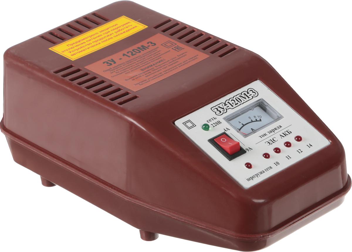 Зарядное устройство Azard ЗУ-120М-3, трансформаторноеЗАРЯД001Трансформаторное зарядное устройство с двумя режимами зарядного тока 4А и 9А. Встроенная термозащита, защита от переполюсовки, защита от короткого замыкания, встроенный амперметр для контроля выходного тока, встроенный индикатор ЭДС аккумуляторной батареи. Заряд аккумуляторов 12В. Номинальный постоянный выходной ток (ток заряда) – 9±0,5 А. Номинальная потребляемая мощность ЗУ при максимальном токе заряда 9А, не более – 140Вт. Емкость заряжаемого аккумулятора: 50-120А·ч. Питающая сеть переменного тока: 220В, 50Гц.