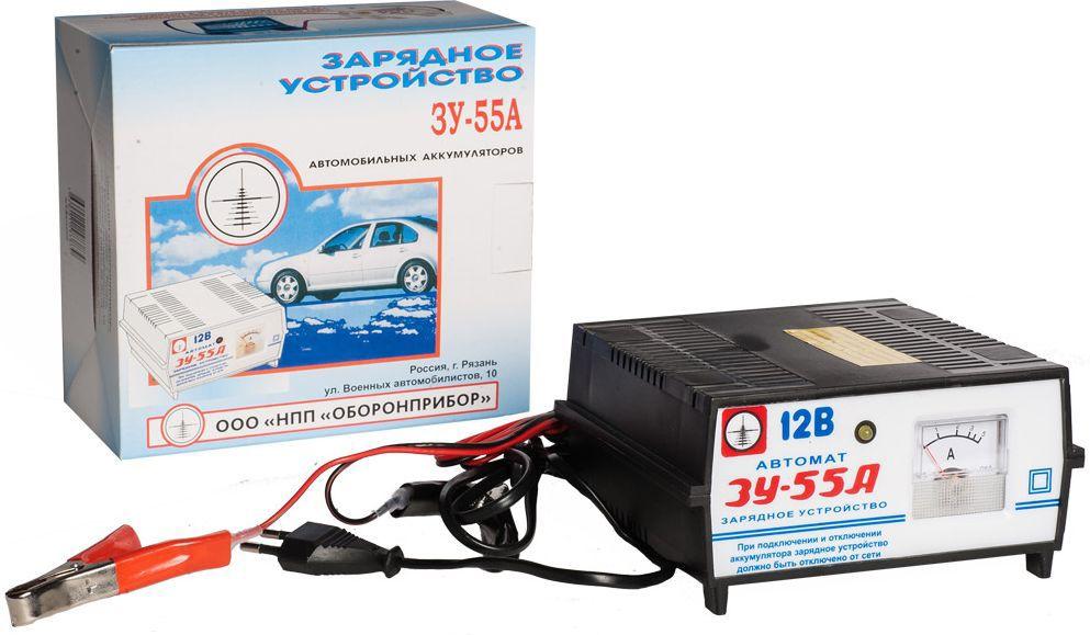 Зарядное устройство Azard ЗУ-55А, трансформаторноеЗАРЯД002Трансформаторное зарядное устройство Azard ЗУ-55А применяется для заряда 12В кислотных автомобильных аккумуляторов. В зарядное устройство встроена термозащита, защита от переплюсовки, защита от короткого замыкания, режим автоотключения ЗУ. Имеется встроенный амперметр для контроля выходного тока. Заряд аккумуляторов 12В. Номинальный постоянный выходной ток (ток заряда) – 4±0,5 А. Номинальная потребляемая мощность ЗУ при максимальном токе заряда 4А, не более – 80Вт. Напряжение автоматического отключения заряжаемой батареи – 14,2-14,5 В. Емкость заряжаемого аккумулятора: 40-120А·ч. Питающая сеть переменного тока: 220В, 50Гц.