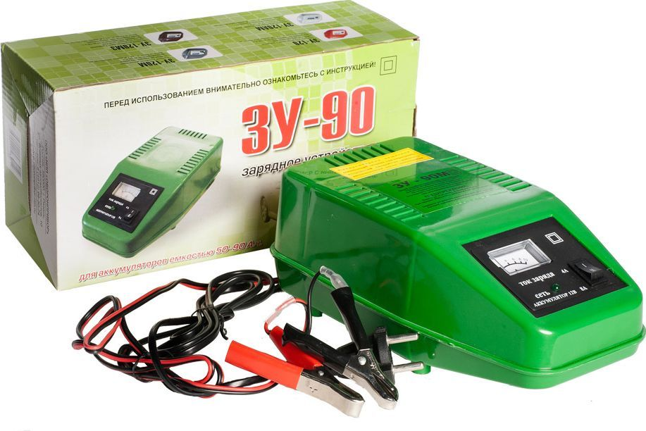 Зарядное устройство Azard ЗУ-90, трансформаторноеЗАРЯД006Трансформаторное зарядное устройство для АКБ. Два режима зарядного тока 4А и 6А, встроенная термозащита, защита от переплюсовки, защита от короткого замыкания, встроенный амперметр для контроля выходного тока. Заряд аккумуляторов 12В. Зарядное устройство с двумя режимами зарядного тока 4А и 8А. Номинальный постоянный выходной ток (ток заряда) – 8±0,5 А. Номинальная потребляемая мощность ЗУ при максимальном токе заряда 8А, не более – 120Вт. Емкость заряжаемого аккумулятора: 50-90А·ч. Питающая сеть переменного тока: 220В, 50Гц.