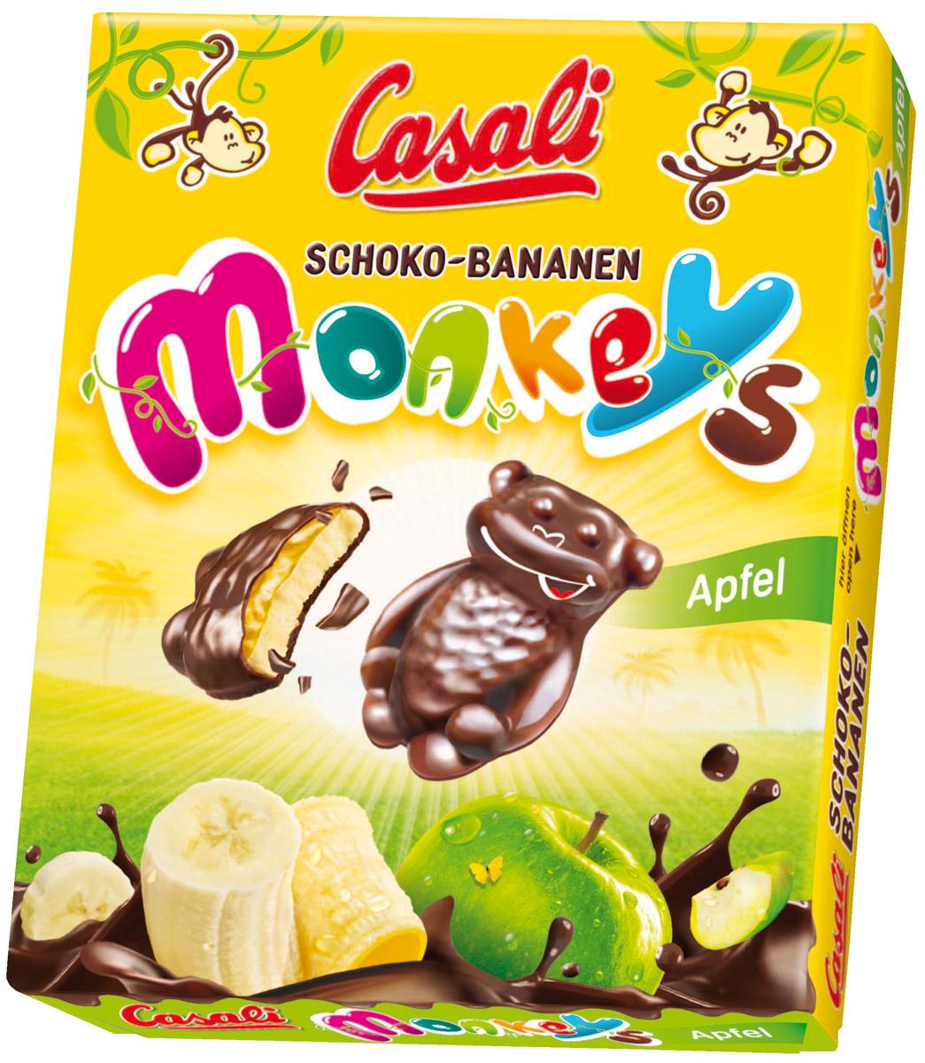 Casali Schoko-Bananen Monkeys суфле банановое в шоколаде с яблочной начинкой, 140 г wagon wheels бисквит в шоколаде с прослойкой из суфле 216 г