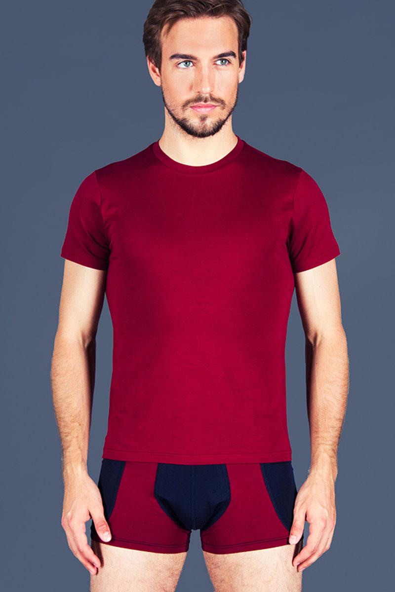 Футболка для дома мужская Sis, цвет: бордовый. B2302. Размер S (44)B2302Мужская футболка Sis выполнена из высококачественного хлопка. Модель с круглым вырезом горловины и короткими рукавами.