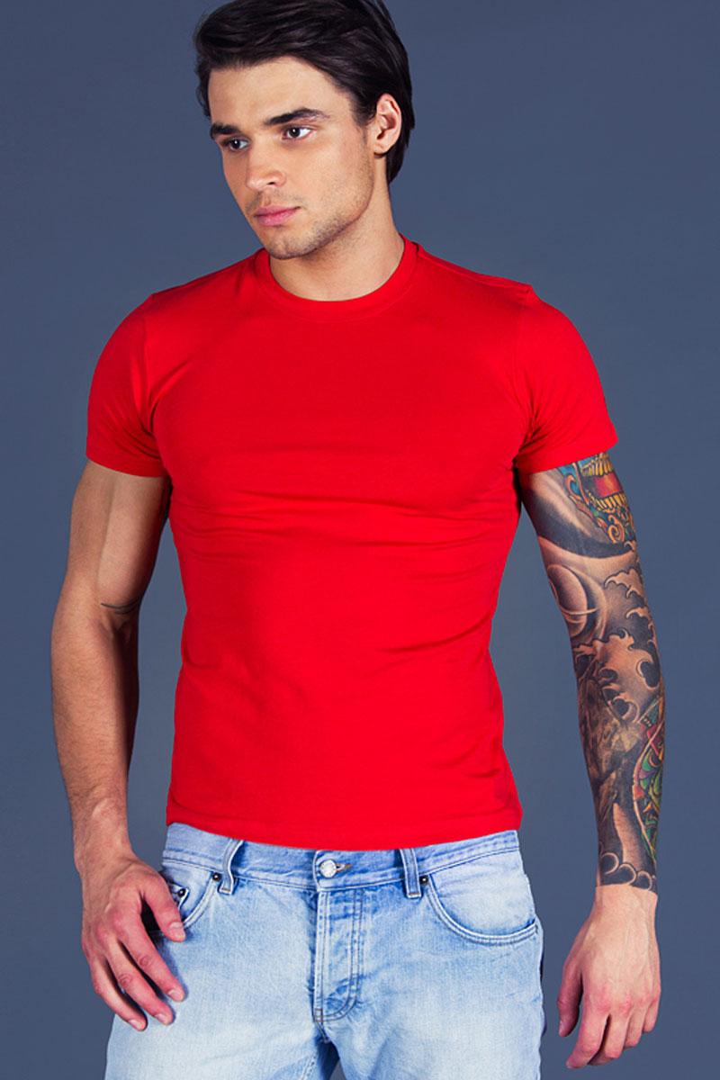 Футболка для дома мужская Sis, цвет: красный. B21r02. Размер XL (50)B21r02Мужская футболка с круглым вырезом горловины и коротким рукавом, выполненная из качественного хлопка с добавлением эластана.