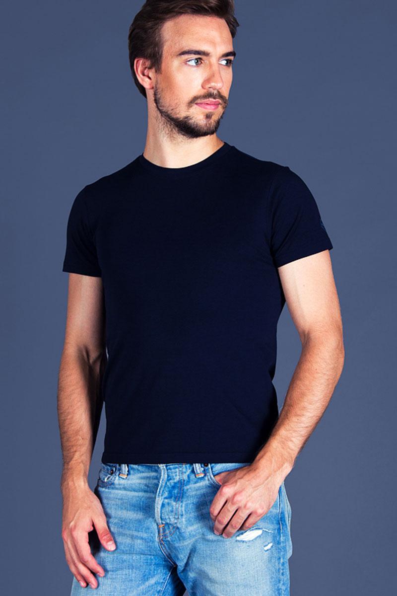 Футболка для дома мужская Sis, цвет: синий. B2402. Размер S (44)B2402Мужская футболка Sis выполнена из высококачественного хлопка. Модель с круглым вырезом горловины и короткими рукавами.