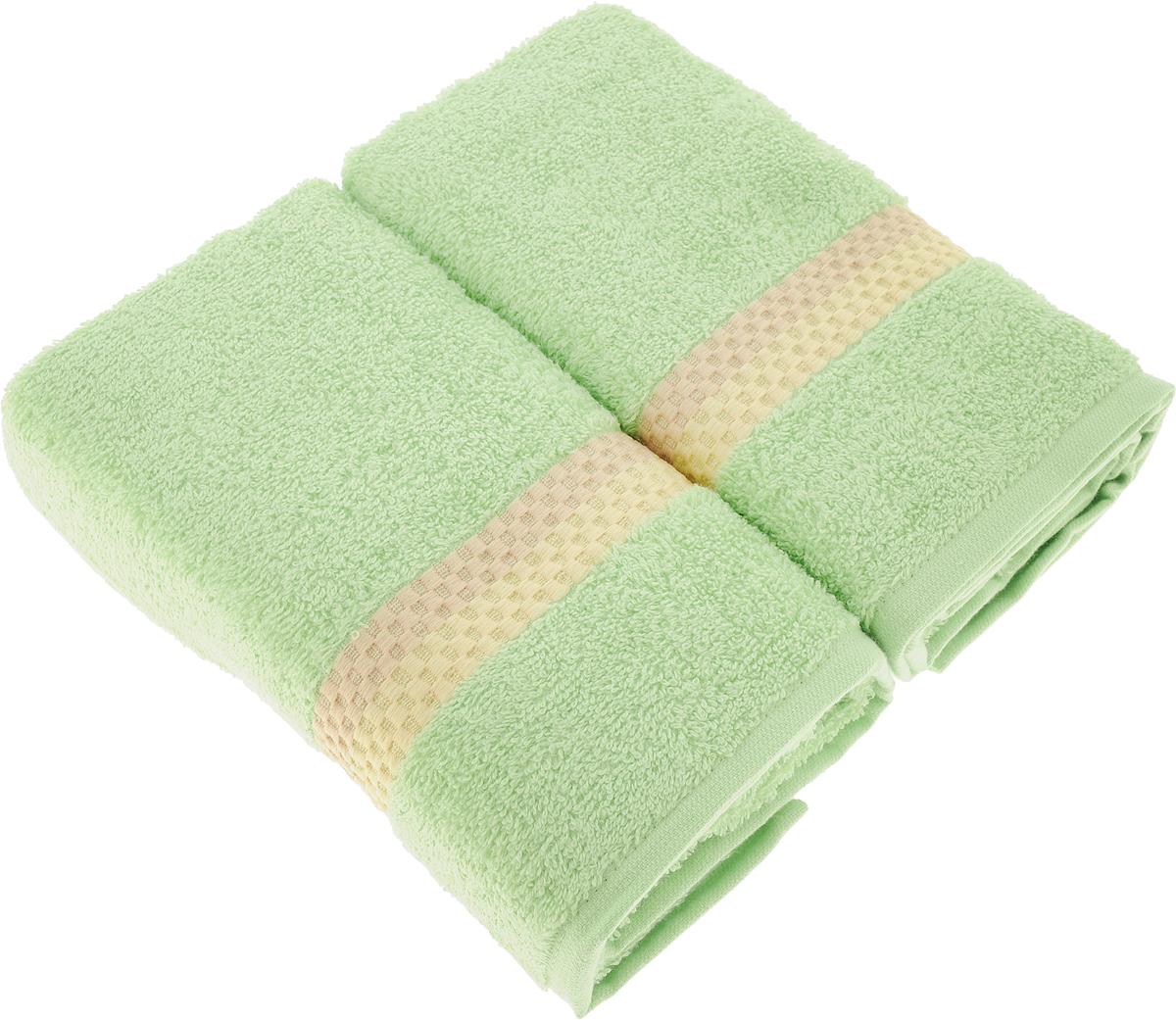 Набор полотенец Aquarelle Настроение, цвет: травяной, 2 шт711721Махровые полотенца Aquarelle Настроение - неотъемлемая часть повседневного быта, они создают дополнительные акценты в ванной комнате. Продукция производится из высококачественных материалов.В наборе 2 полотенца. Уважаемые клиенты!Обращаем ваше внимание на цветовой ассортимент товара. Поставка осуществляется в зависимости от наличия на складе.