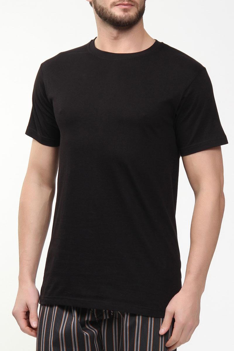 Футболка для дома мужская Sis, цвет: черный. A2102. Размер M (46/48)A2102Мужская футболка Sis выполнена из высококачественного хлопка. Модель с круглым вырезом горловины и короткими рукавами.
