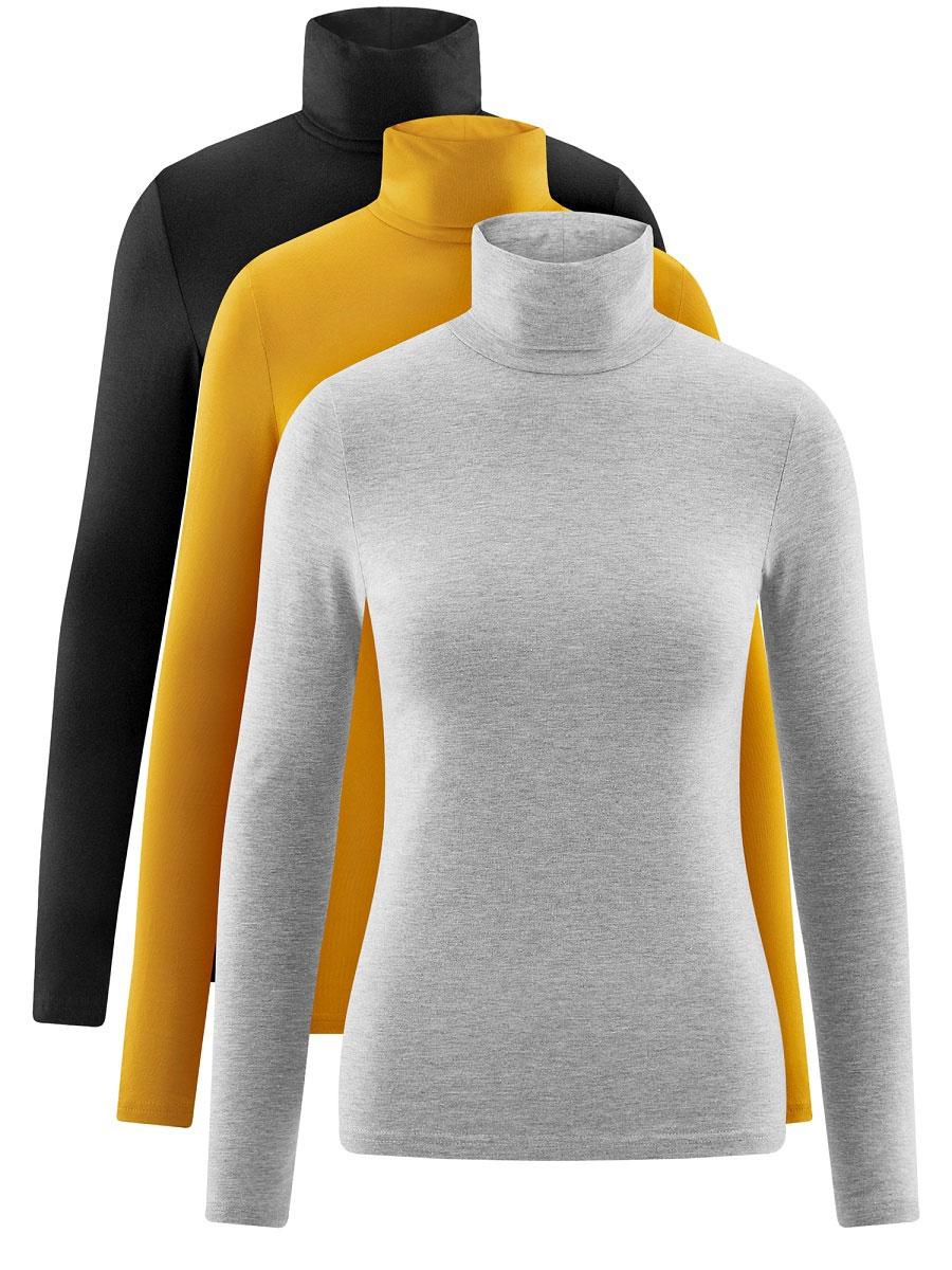Водолазка женская oodji Ultra, цвет: черный, желтый, серый, 3 шт. 15E02001T3/46147/19E5N, 3 шт. Размер M (46)15E02001T3/46147/19E5NБазовая женская водолазка oodji Ultra выполнена из эластичной хлопковой ткани. У модели воротник-гольф и стандартные длинные рукава. В комплект входит три водолазки.