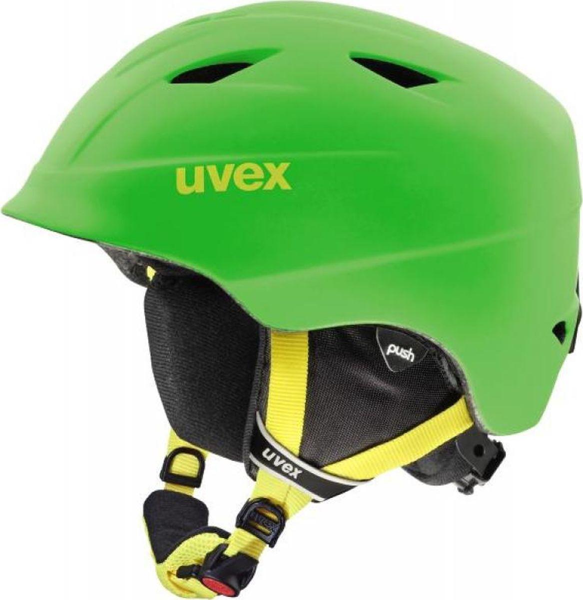 Шлем горнолыжный детский Uvex Airwing 2, цвет: зеленый матовый. Размер XXXS/XXSA9085_83Детский шлем Uvex Airwing 2 обеспечит юному лыжнику максимальный комфорт на склоне.В модели предусмотрены система вентиляции, съемная защита ушей и фиксатор стрэпа маски. Система индивидуальной подгонки размера IAS и застежка Monomatic позволят надежно закрепить шлем на голове.Подкладка выполнена из гипоаллергенного материала. Как выбрать горные лыжи для ребёнка. Статья OZON Гид