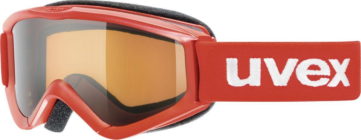 Маска горнолыжная детская Uvex Speedy Pro Kids Goggles, цвет: красный3819Детская горнолыжная маска Uvex Speedy Pro Kids Goggles с одинарными линзами цилиндрической формы подойдет для катания в туманную или облачную погоду, а также при искусственном освещении. Модель разработана специально для детей и подростков. Поликарбонатная линза усиливает контрастность и не запотевает благодаря покрытию Supravision. В модели также предусмотрены удобный уплотнитель и вентиляция.Технология 100% UVA- UVB- UVC-PROTECTION гарантирует защиту от УФ-лучей. Маска совместима со шлемом.