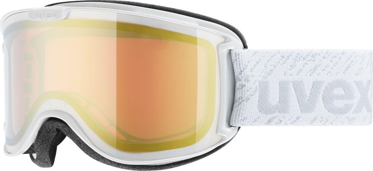 Маска горнолыжная женская Uvex Skyper LM Ski Mask, цвет: белый, золотистый421Женская горнолыжная маска Uvex Skyper LM Ski Mask предназначена для девушек, которые любят фрирайд. Модель рассчитана на катание в солнечные дни.Благодаря конструкции без оправы снег не налипает на маску, а просто соскальзывает с линзы, а покрытие Supravision не позволяет линзе запотевать.В маске использован комфортный уплотнитель из велюра.Гарантирована 100 % защита от УФ-лучей.