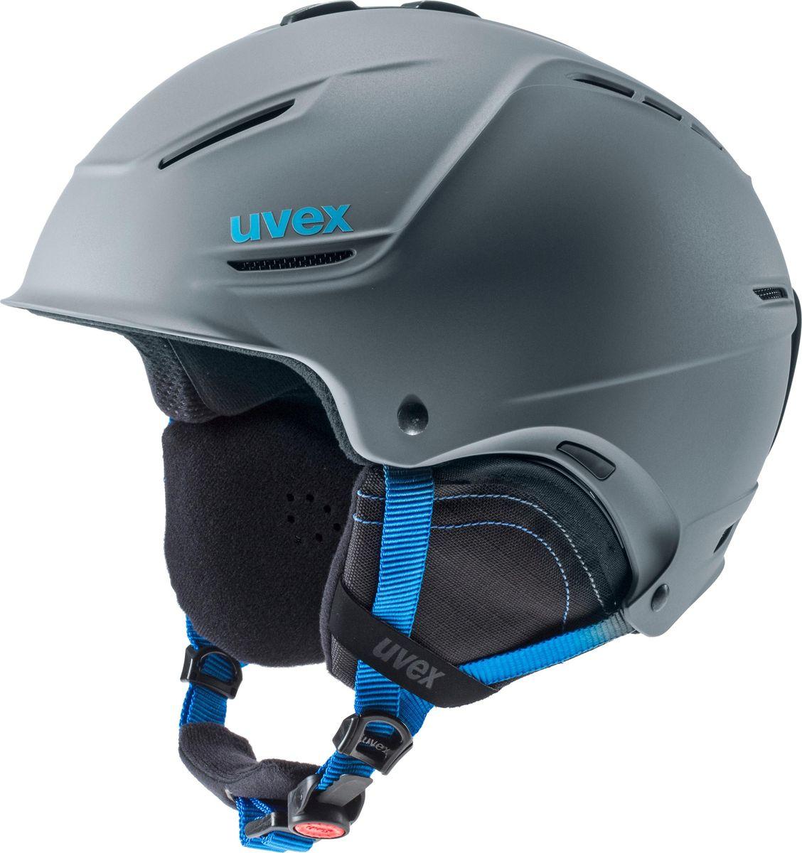 Шлем горнолыжный Uvex P1us 2.0 Helmet, цвет: серый, синий матовый. Размер 52/556211Удобный шлем Uvex P1us 2.0 Helmet с конструкцией +technology обеспечит безопасность на склоне. В модели предусмотрена съемная защита ушей с технологией Natural Sound, которая не искажает звуки. Гипоаллергенная подкладка и регулируемая вентиляция гарантируют комфорт во время катания. Фиксатор стрэпа маски и застежка monomatiс, которую легко отрегулировать одной рукой, служат для удобства использования. Что взять с собой на горнолыжную прогулку: рассказывают эксперты. Статья OZON Гид