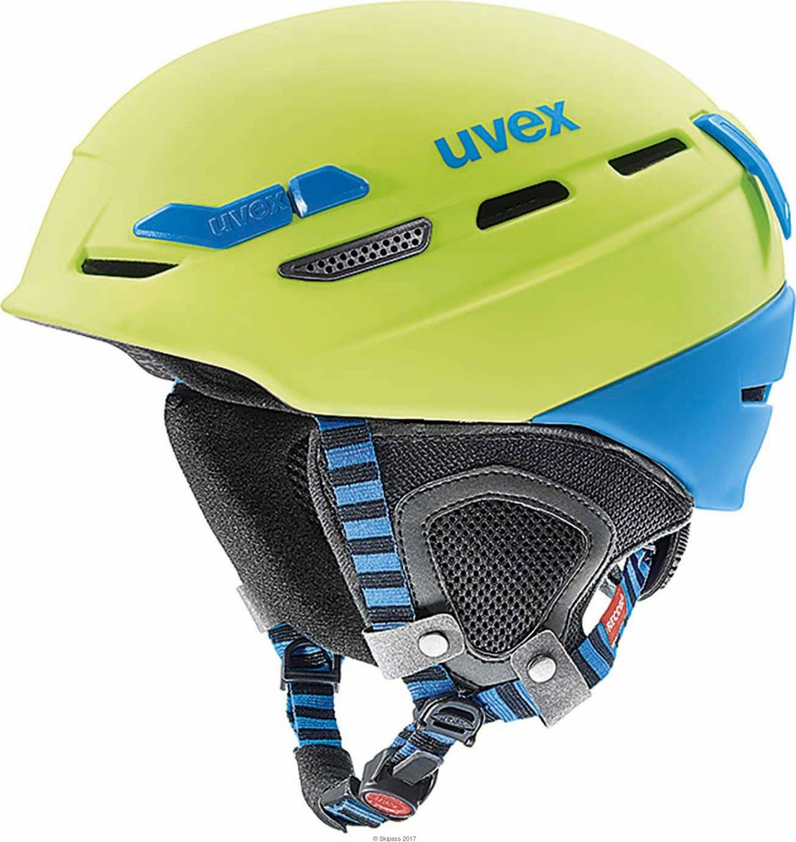 Шлем горнолыжный Uvex P.8000 tour Helmet, цвет: лайм, синий матовый. Размер M/L protective pu leather plastic full body case w stand card slots for samsung galaxy s5 white