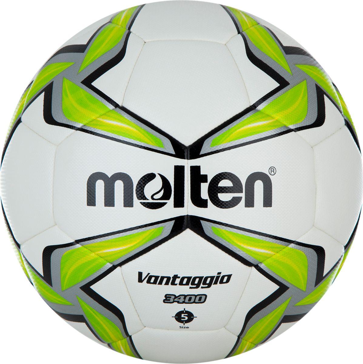 Мяч футбольный Molten. Размер 5. F5V3400-GF5V3400-GФутбольный мяч от Molten.Высокая прочность. В модели используется комбинированное соединение панелей: машинное шитье с последующей термосклейкой. Мяч остается мягким, но при этом прочным, как при ручной сшивке.Устойчивость к стиранию. Покрышка из полиуретановой синтетической кожи обеспечивает долговечность и устойчивость к истиранию.