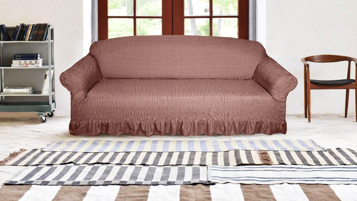 Чехол на трехместный диван Медежда Дэйзи, цвет: шоколадный1403101111000Чехол на трехместный диван Медежда Дэйзи состоит из двух слоев: один слой микрофибра,второй слой - трикотаж. Одновременно воздушный и плотный, чехол не просвечивает, несползает даже со скользких кожаных диванов. Чехол Дэйзи создаст новый стиль в вашем доме, добавит шарм и индивидуальность.