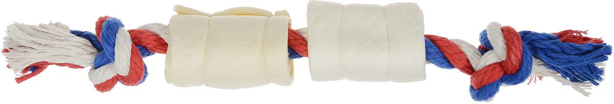 Игрушка-лакомство для собак Titbit, канат с 2 рулетами из кожи, длина 35 см джей ви j w игрушка для лакомства большая пирамидки на канате для собак 1 шт