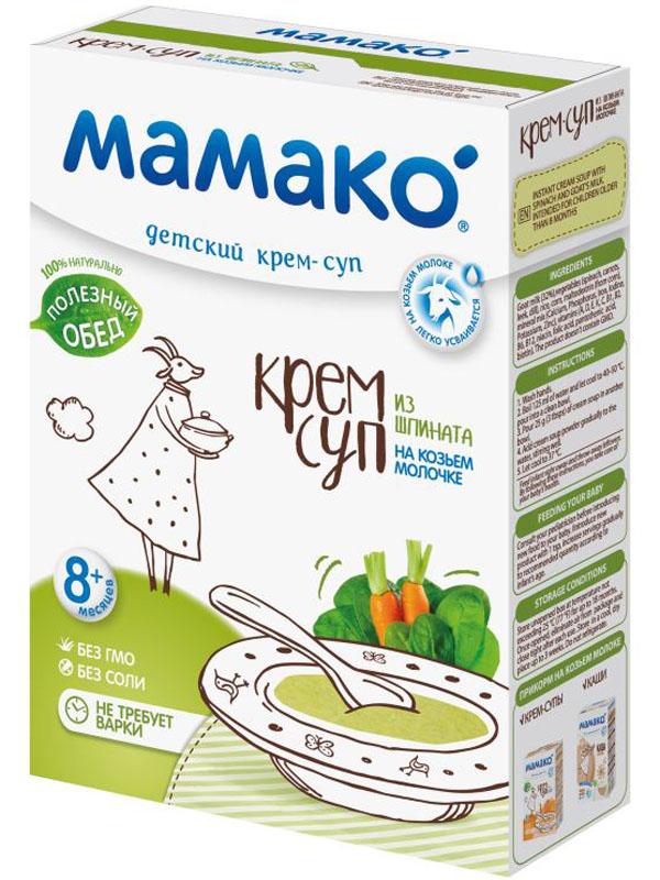 Крем-суп из шпината МАМАКO на козьем молочке легко приготовить, просто добавив теплой воды. Детский крем-суп помогает маме разнообразить овощной прикорм малыша. Предложите его в качестве первого блюда в обед или основного блюда на ужин. Суп МАМАКO порадует Вас легкой кремообразной консистенцией и нежным сливочным вкусом.Полезные свойства:• Крем-суп МАМАКO обогащен 13 витаминами и 7 минералами, а козье молочко в его составе улучшает биодоступность макро- и микроэлементов, способствует легкому усвоению питательных веществ. • Суп из шпината богат растительной клетчаткой, важной для нормализации пищеварения. Шпинат уникален по своему составу. Содержит лютеин для зрения, большое количество незаменимых аминокислот для роста и развития малыша.• Зелень шпината в сочетании с нежным сливочным вкусом козьего молока - новое открытие мамы и настоящее удовольствие для малыша!