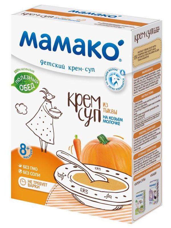 Мамако Детский крем-суп из тыквы на козьем молочке, 150 гУТ-00000057Крем-суп из тыквы МАМАКO на козьем молочке легко и быстро приготовить, просто добавив теплой воды. Детский крем-суп помогает маме разнообразить овощной прикорм малыша.Предложите его в качестве первого блюда в обед или основного блюда на ужин. Суп МАМАКO