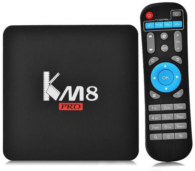 Invin KM8 Pro], Black медиаплеер4631139715082Подключив Андроид-приставку Смарт ТВ -Invin KM8 Pro к своему телевизору, вы получите полноценный планшетный компьютер. С её помощью можно заходить в интернет, используя вместо монитора телевизор, работать с текстовыми и графическими документами, смотреть видео и играть игры онлайн, общаться в соцсетях, использовать абсолютно все приложения, разработанные для устройств с ОС Android и так далее. На приставке смарт ТВ Invin KM8 Pro заведомо установлены интернет-браузер и приложения, позволяющие вам активно проводить время в сети, просматривать видео и телеканалы онлайн.Характеристики:· ОС- Android 6.0· Процессор Amlogic S912 Octa-core ARM Cortex-A53 CPU up to 2GHz (DVFS) (8-ми ядерный)· Графический процессор GPU: ARM Mali-T820MP3 GPU up to 750MHz (DVFS) (8-ми ядерный)· Системная память - 2 Гб DDR3 до 1600 МГц· Внутренная память - 16Гб + Micro SD слот для карт памяти до 64 Гб· Видео выход - HDMI 2.0b до 4K2K (2160p = 3840 Ч 2160), А.В.· USB - 2x USB Host 2.0 портов, поддержка внешних USB дисков· Видео выход - AV (выход для старых телевизоров)· Мышь/ Клавиатура- Поддержка стандартных манипуляторов мышь и клавиатур через USB порты. Характеристики Сети:· LAN Сеть- Ethernet 100M/1000M· WIFI Беспроводная сеть - AP6330 2.4GHZ/5.8GHZ 802.11a/b/g/n. Основные характеристики:· 3D Аппаратное ускорение 3D графики· Поддержка форматов- HD MPEG1/2/4, H.264, HD AVC/VC-1, RM/RMVB, Xvid/DivX, RealVideo· Поддержка формата медиафайлов- Avi/Rm/Rmvb/Ts/Vob/Mkv/Mov/ISO/wmv/asf/flv/dat/mpg/mpeg· Поддержка аудиофайлов- MP3/WMA/AAC/WAV/OGG/AC3/DDP/TrueHD/DTS/DTS/HD/FLAC/APE· Поддержка форматов фотографий- HD JPEG/BMP/GIF/PNG/TIFF· Поддержка карт памяти SD/SDHC/MMC cards· Поддержка файловых систем FAT16/FAT32/NTFS· Поддержка субтитров SRT/SMI/SUB/SSA/IDX+USB· HD видео выход SD/HD до 1920?1080· 3G Поддержка некоторых 3G модемов· DOLBY TrueHD и DTS HD DOLBY TrueHD и DTS HD Bypass через HDMI. Программное обеспечение:· Сеть Skype, Picasa, Youtube, Flicker,