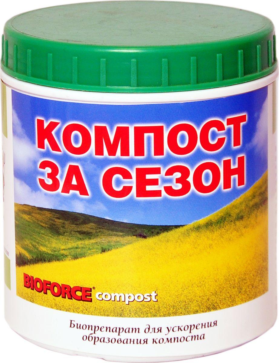 """Биопрепарат для ускорения образования компоста Bioforce """"Compost"""" предназначен для ускорения процесса  разложения органических соединений при производстве компоста. В результате получается более эффективное  удобрение, чем при естественном способе, а время процесса сокращается в 3-6 раз. Ослабляет распространение  запахов. Применение:   В контейнере:  Для образования компоста поместите органические вещества в затененное влажное место. Место не должно быть  слишком сырым, чтобы не вымывались питательные вещества. Увлажните водой органические материалы до  состояния выжатой губки. Приготовьте раствор Bioforce """"Compost"""", из расчета 100 г. препарата на 20 л. теплой  нехлорированной воды. Этого количества хватит для обработки 1000 кг. органики. Добавьте раствор в  подготовленную органическую массу. Желательно 1-2 раза в неделю переворачивать слои компоста.   В грунте:  Можно вносить органические вещества в почву сразу после обработки препаратом, перед вспахиванием или  перекапыванием. Как и в первом случае, приготовьте раствор Bioforce """"Compost"""". Обработайте им органику, после  чего обработанную массу равномерно распределите по поверхности земли, и тщательно перекопайте. При  необходимости увлажните почву для усиления процесса компостирования. Следите, чтобы почва не пересыхала.    Состав: смесь полезных природных бактерий, питательных веществ, аминокислот, минералов, ферментов.   Товар сертифицирован."""