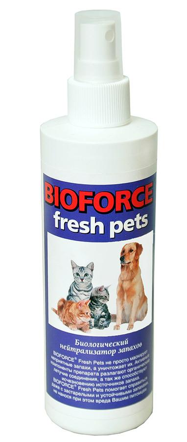 Нейтрализатор запахов животного происхождения Bioforce Fresh Pets, 150 млBF-037Биологический нейтрализатор запахов животных Bioforce Fresh (200мл)Препарат эффективно нейтрализует неприятные запахи органического происхождения в местах содержания животных, метки, запахи испражнений и пр.. Bioforce Fresh Pets не маскирует неприятные запахи. издаваемые отходами, налипшими на поверхностях, а борется с их источником. Активные компоненты препарата разлагают органические летучие соединения, ощущаемые нами в виде запаха. Помогает справиться даже с застарелыми и устойчивыми запахами.ПРИМЕНЕНИЕ:Разбрызгайте нейтрализатор в воздухе вокруг или направленно на источник запаха. Обычно достаточно одного двух нажатий для достижения результата. Также, Bioforce Fresh Pets можно применять при мытье полов, стен, лотков, клеток, и других поверхностей. Для этого открутите с флакона. насадку-разбрызгиватель. Добавьте небольшое количество средства в воду. Используйте разведённый раствор для мытья.
