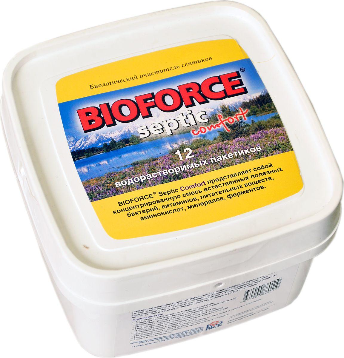 Средство для септиков и биотуалетов Bioforce Septic Comfort, 56 г, 12 штBС-006Биологический очиститель стоков очистных сооружений Bioforce Septic Comfort (672г.)Биопрепарат предназначен для обезвреживания и утилизации отходов жизнедеятельности человека, расщепления органических отходов, уменьшения объема осадка в системе баков септиков, ослабления запахов. Подходит для аэробных и анаэробных типов септиков. Предотвращает засорение дренажных каналов и закупоривание канализационных коммуникаций. Восстанавливает культуру полезных бактерий в системе септиков. Подходит для аэробных и анаэробных типов септиков. Уникальная форма фасовки, водорастворимые саше, обеспечивает наиболее комфортное внесение препарата.ПРИМЕНЕНИЕ:Bioforce Septic Comfort можно вносить как непосредственно в очистное сооружение, так и через унитаз или раковину дома.Ежемесячно вносите 1 пакетик средства на емкость объемом от 2 до 4 м3. Для первичного запуска очистного сооружения необходимо четырехкратное увеличение дозировки. Расход увеличивается пропорционально объему системы. В системы объемом более 20 м3. рекомендуется вносить препарат один раз в неделю, из расчета приблизительно ? месячной дозировки.Состав: концентрированная смесь полезных природных бактерий, питательных веществ, аминокислот, минералов, ферментов.
