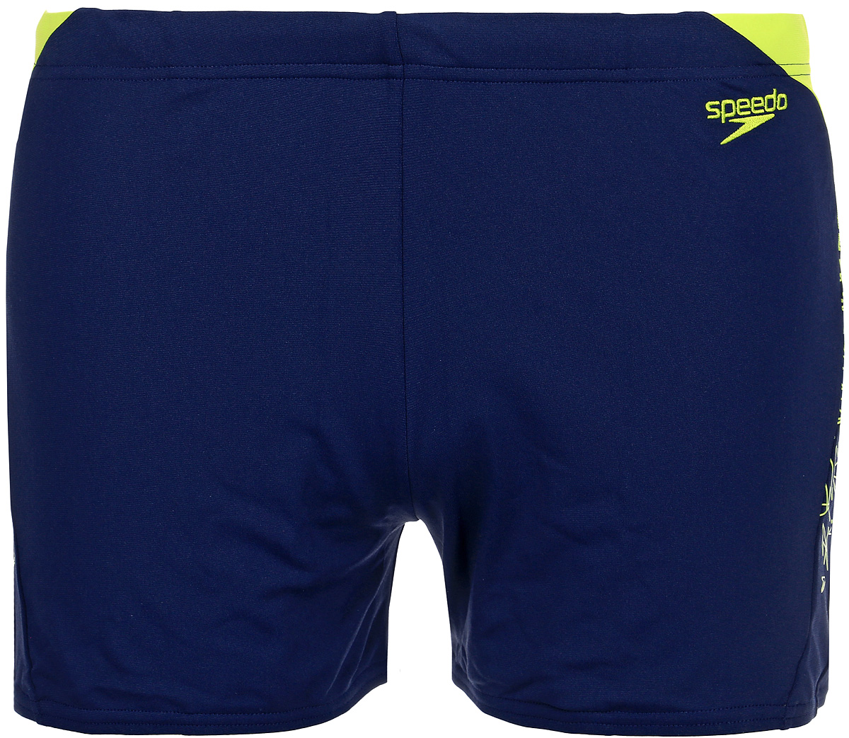 Плавки-шорты мужские Speedo Boom Splice Aquashort, цвет: темно-синий, желтый. 8-10855B749-B749. Размер 32 (42/44)8-10855B749-B749Мужские спортивные плавки-шорты Boom Splice Aquashort от Speedo – модель, идеально сочетающая в себе высокое качество, удобство и стиль. Благодаря сверхпрочному материалу Endurance+ плавки обладают 100% защитой от воздействия хлора и яркого света. Не потеряют своей яркости и эластичности даже при интенсивных регулярных тренировках. Прекрасно тянутся в 4 направлениях, что позволяет добиться идеальной посадки и полной свободы движений во время плавания. Регулируются по поясу с помощью внутреннего шнурка. Яркий контрастный принт сбоку придает модели свежий, современный вид. Мужские плавки-шорты от Speedo для тренировок в бассейне.