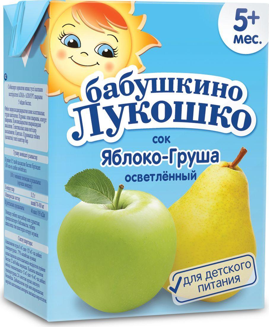 Бабушкино Лукошко Яблоко Груша осветленный сок с 5 месяцев, 200 мл051898Яблочно-грушевый сок - источник фруктовых кислот, витаминов, минеральных веществ (калий, железо), сахаров природного происхождения. Благотворно влияет на работу желудочно-кишечного тракта. В 100 г продукта: углеводы - 11,5 г; минеральные вещества: калий - 70-300 мг, энергетическая ценность - 46 ккал/193 кДж. Сок рекомендуется употреблять, начиная с 0,5 чайной ложки в день, постепенно увеличивая до 100 мл в день.