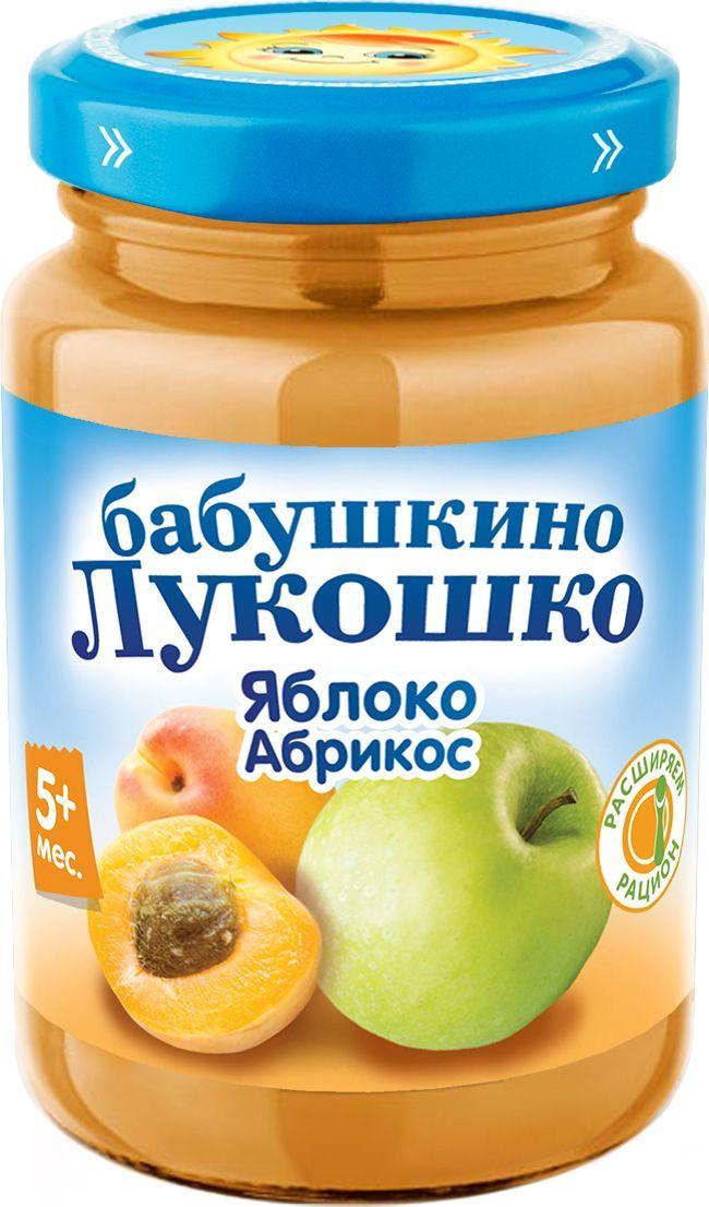 Бабушкино Лукошко Яблоко Абрикос пюре с 5 месяцев, 200 г пюре бабушкино лукошко фрикадельки из индейки в бульоне с 8 мес 100 гр