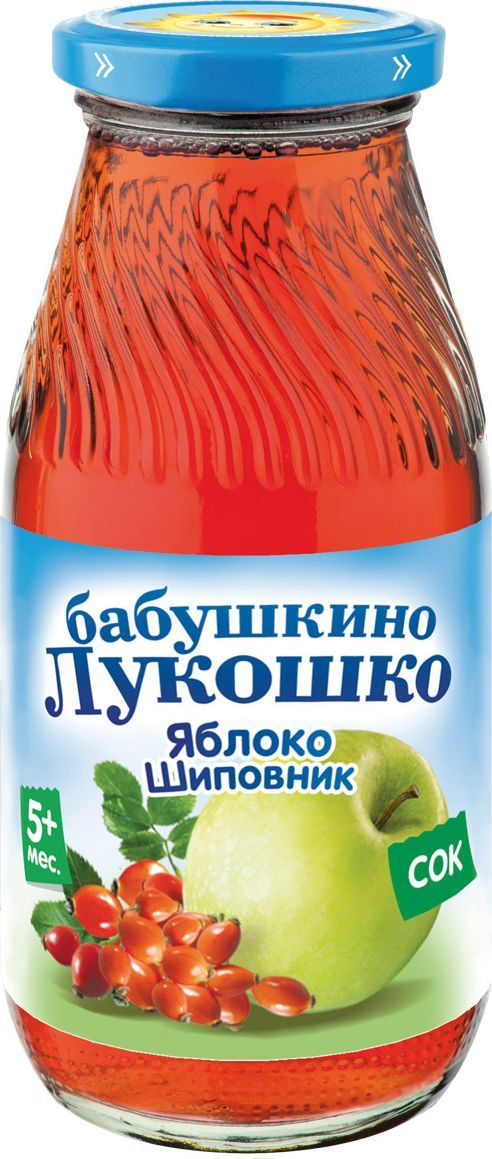 Бабушкино Лукошко Яблоко Шиповник сок с 5 месяцев, 200 мл052806Сок Яблоко - шиповник содержит целый комплекс необходимых малышу витаминов (С,В1, В2, К, РР) и минералов (железо, каротин, рутин, калий, фосфор, калий, марганец, магний). Такой богатый состав биологически активных веществ способствует повышению