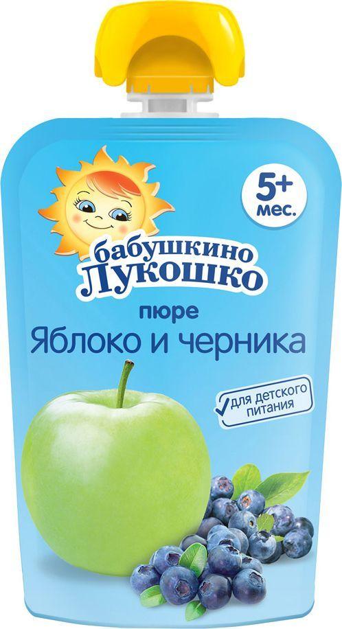 Бабушкино Лукошко Яблоко Черника пюре с 5 месяцев, 90 г054890Пюре из яблок и черники содержит большое количество провитамина А и других антиоксидантов, которые благотворно влияют на зрение и состояние кожи. Пектины черники способствуют выведению токсинов и шлаков из организма. В 100 г продукта: углеводы - 15,8 г; минеральные вещества: калий - 80-200 мг, энергетическая ценность - 65 ккал/270кДж. Продукт готов к употреблению.
